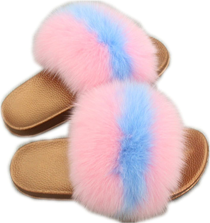 QMFUR Women Real Fox Fur Slippers Fashion Slides Flat Glod Soft Summer shoes for Girls (5, Pink-bluee)