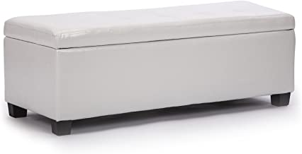 La Bella Storage Ottoman Leather - Snow White