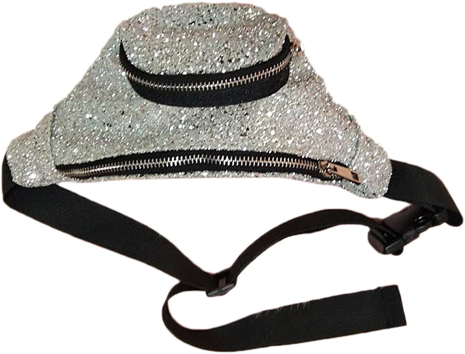 OULII Cool Sequin Waist Pack Leisure Casual Glitter Fanny Pack AllMatch Sports Bag (Silver)