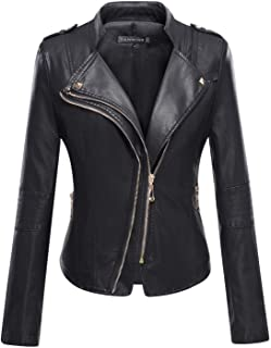 Tanming Women's Slim Zipper Color Faux Leather Jacket Red
