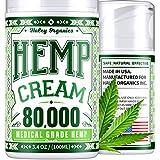 Pain Relief Cream with Hemp Oil - 80,000 Extract - Arthritis, Back, Sciatica, Neck, Knee, Neuropathy Pain Relief - Safe to use with Arthritis Gloves, Back Massager, Knee Brace - USA Hemp Cream 3.4oz