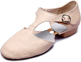MSMAX Womens T-Strap Leather Jazz Dance Shoes
