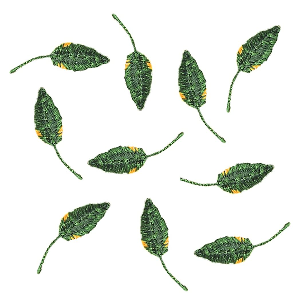 XUNHUI Applique Embroidery Leaves Patch Iron On Patches for Clothing Bag DIY Patches Adhesive Iron On The Back 10 Pieces