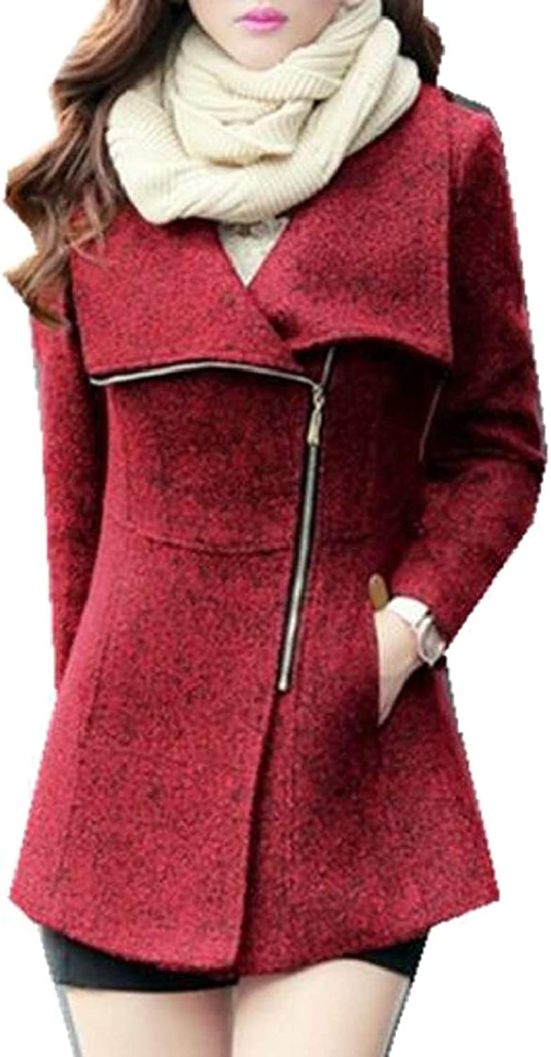 TDCACA Women Solid Casual Jackets Slim Fit Zip Woolen Lapel Trench Coat