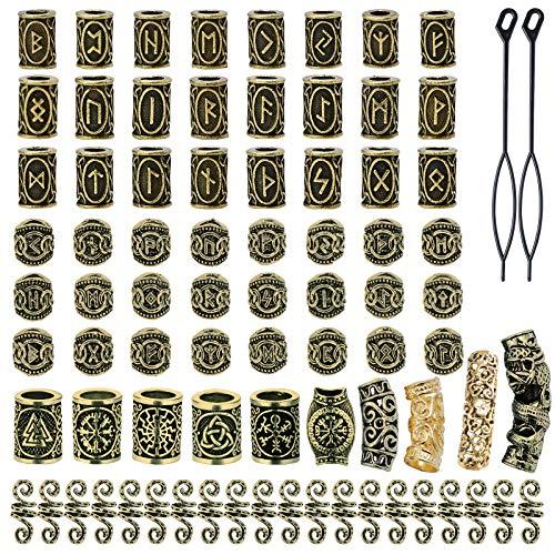YMHPRIDE 80 cuentas de barba vikinga, cuentas de tubo de pelo nórdicas antiguas, cuentas de rastas para trenzar el cabello, pulsera, colgante, collar, plata, joyería DIY (oro antiguo)