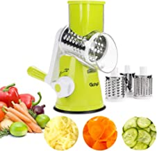 Gohyo Rotary Cheese Grater Round Mandoline Slicer with 3 Inner Adjustable Blades, Manual Vegetable Food Shredder with Strong Suction Base (Green)