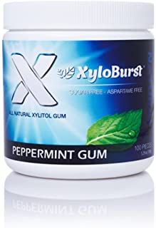 XyloBurst 100% Xylitol, Natural Chewing Gum 100 Count Jar Non GMO, Vegan, Aspartame Free, Sugar Free (Peppermint, 1 Jar)