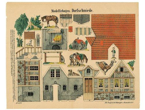 Aufstellspielzeug und Bauereien. Mode-Waaren-Handlung (Nr. 1373), Dorfschmiede (Nr. 3321), Schweizerhaus (Nr. 6601), Gartenhaus (Nr. 6600), Rosenau Herzogl. ... & Riemschneider Gustav Kühn F. W. Bergemann