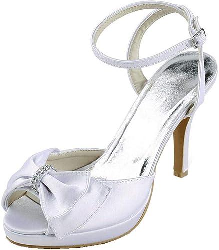 ZHRUI Sandales Sandales de Mariage nuptiales à Talons Hauts et à Talons Hauts pour Femmes (Couleuré   Ivory-10cm Heel, Taille   5.5 UK)