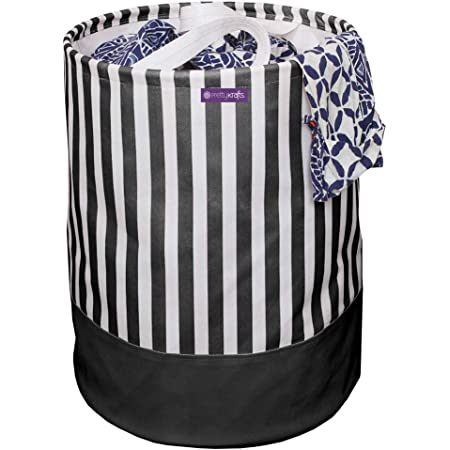 PrettyKrafts Laundry Bag for Clothes, Collapsible Laundry Storage, Toys Storage, (45 L), Black Stripes