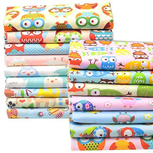 9 Assorted Owl Cartoon Animals Precut Twill Cotton Quilt Fabric Fat Quarter Tissue Bundle Charm Sewing Handmade Textile 40cm x 50cm