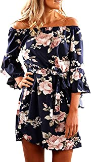 Women Off Shoulder Ruffles Floral Tunic Casual Party...