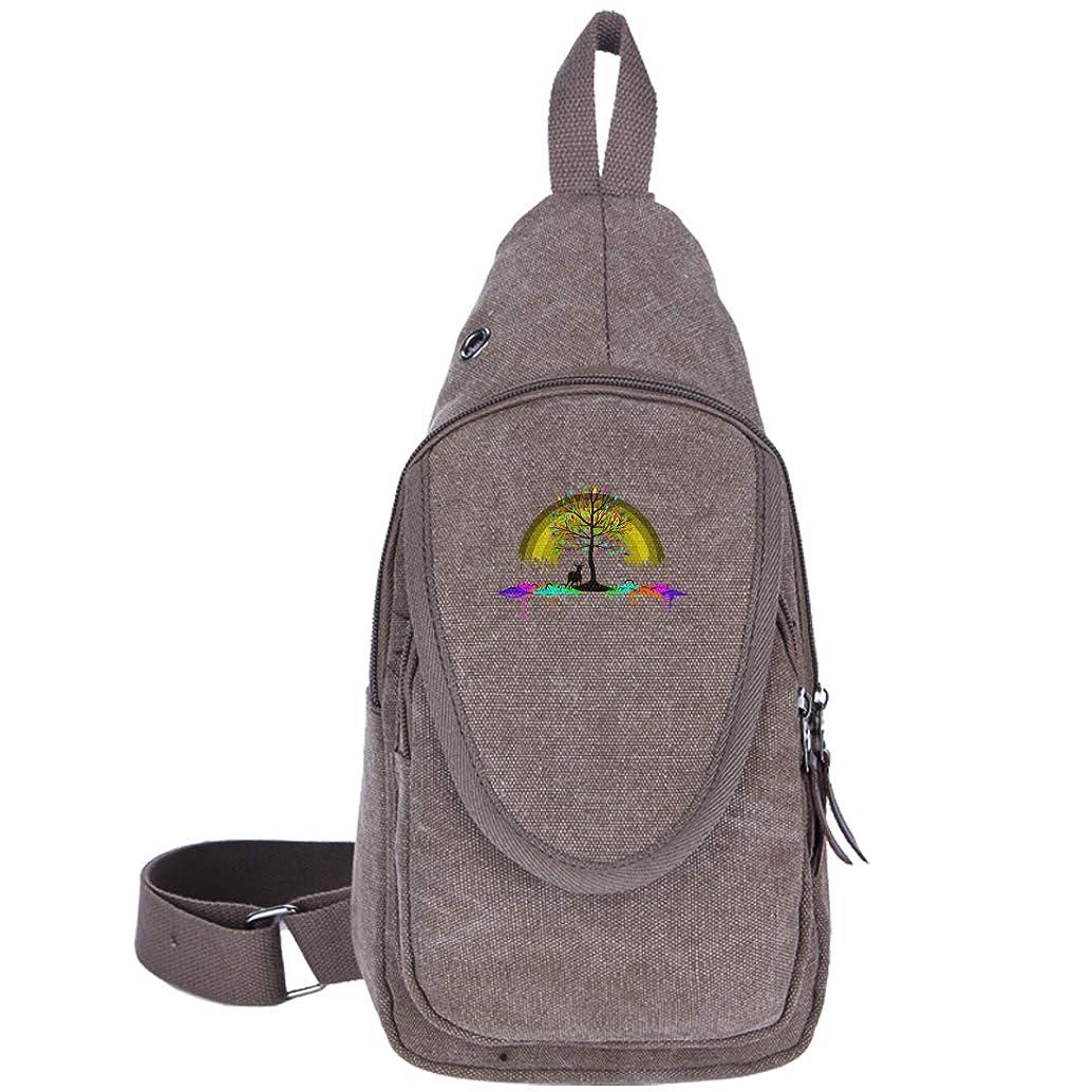 Rainbow Elk Canvas Sling Bag Outdoor Crossbody Shoulder Chest Pack Travel Bags for Men Women Black