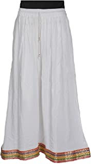 FEMEZONE Skirt Women's Cotton Regular Fit Rayon and Crepe Skirt (White)