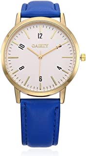 naivo Women's Quartz Stainless Steel and Gold Plated Watch, Color Blue (Model: 1)
