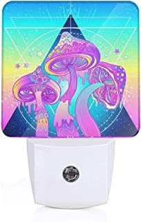 Mushrooms Sacred Geometry Psychedelic Vibrant Plug-in LED Night Light Lamp with Light Sensor, Auto On/Off, Energy Efficient