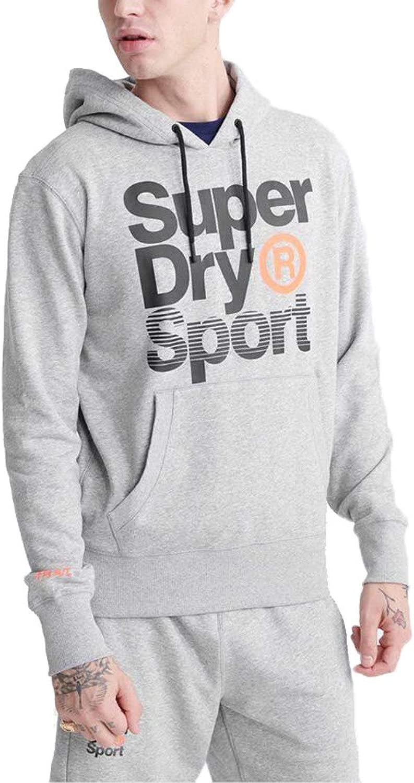 Superdry Herren Core Sport Overhead Hoodie Kapuzenpul r MS300012A Grau