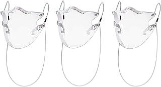 成人 面罩 可见度100% 3个透气口罩 舒适款式 透明 耐用 面部防护 塑料 可重复使用 不破坏妆容 运动 上学 工作