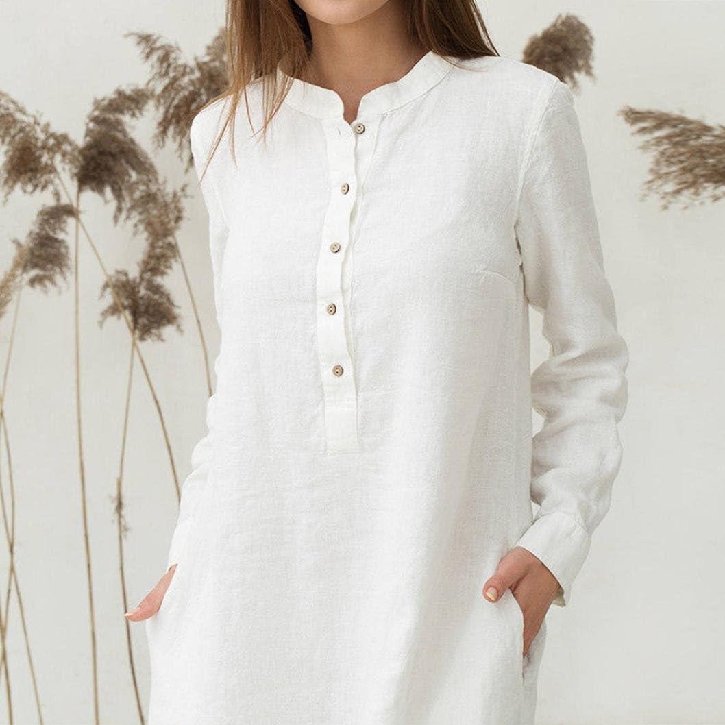 Women/'s Kaftan Cotton Long Sleeve Plain Casual Oversized Maxi Long Shirt Dress