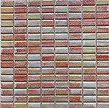 Mosaico sobre red de gres porcelánico, fabricado en Italia – Crystal 161 rojo