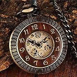ZMKW Paquete de Caja Reloj de Bolsillo mecánico de Madera Maciza Cadena Locket Dial Hollow Steampunk Skeleton Reloj Masculino para Hombre Relojes, Bolsillo mecánico
