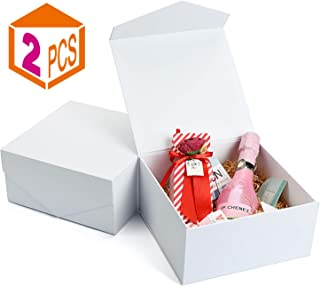 MESHA Bridesmaid Proposal Boxes 8x8x4 Inches 2-Pack, Christmas White Gift Boxes with Lids and Magnetic Closure, Perfect for Birthdays Weddings Anniversaries
