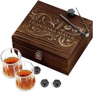 Murrano Whisky Steine Set - in Holzbox mit Gravur - 8 Eiswürfel  2 Whisky Gläser - wiederverwendbar - aus Granit - Geschenk für Paare - Monogramm