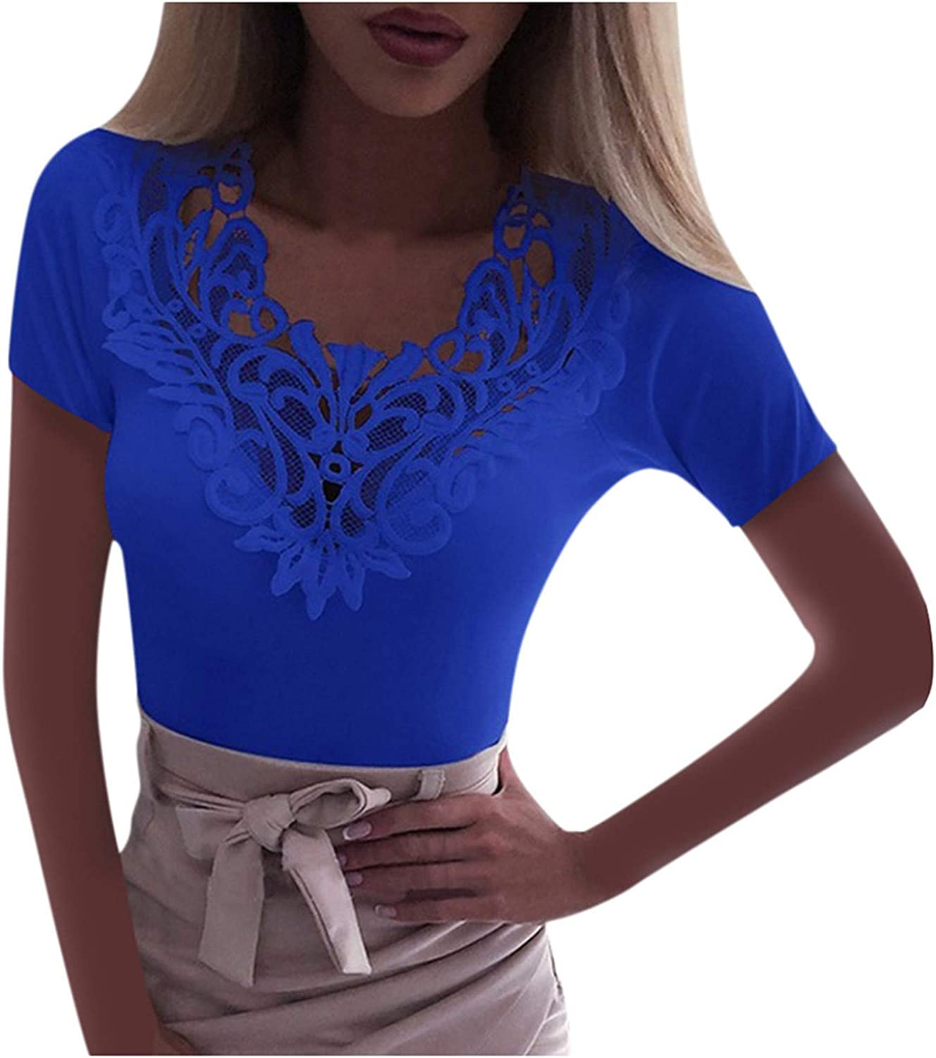 Forwelly Oversize T Shirt for Women Short Sleeve Trendy Plain Lace Patchwork V Neck Tee Shirt Slim Fit Basic Top Blouse