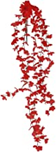 Imported 5-branch Artificial Wall Hanging Ivy Vine Fake Silk Flower Home Decor Red