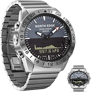 APCHY Hombres Dive Sports Digital Smart Reloj, Luxury Full Steel Business Fitness Tracker De Altímetro Barómetro Compás, Dormir, Tiempo Dual Impermeable Contar Calorías,Plata