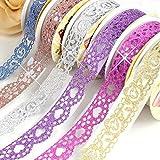 B&Y Washi Tape,Lace Pattern Glitter Bling Self-Adhesive Tape,Diamond Washi Tape Masking DIY Scrapbooking Lace Tape Sticker, 6 Rolls Tape Color Random
