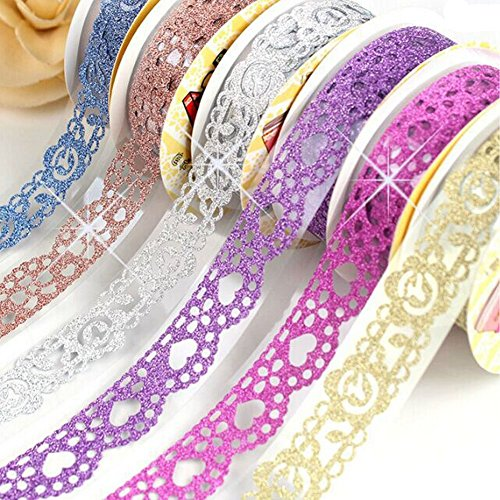 B&Y Washi Tape,Lace Pattern Glitter Bling Self-Adhesive Tape,Diamond Washi Tape Masking DIY Scrapbooking Lace Tape Sticker, 6 Rolls Tape Color Random