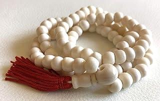 108 Bone mala beads PRAYER JAPA MANTRA TANTRA MALA NECKLACE-BLESSED & ENERGIZED TOP QUALITY (108+1) 7-8 MM HINDU BUDDHIST PRAYER KARMA YAKBONE BEADS SUBHA ROSARY MALA FOR NIRVANA, BHAKTI, FOR REMOVING INNER DOSHAS, FOR TANTARIC SIDHI, FOR CHANTING AUM OM,