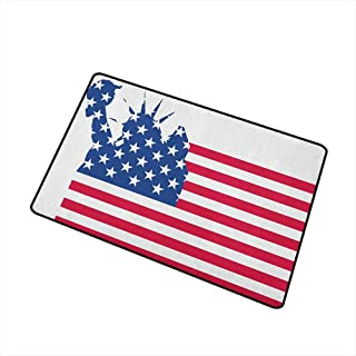 Wang Hai Chuan New York Inlet Outdoor Door mat Statue of Liberty Flag Silhouette Universal Symbol of Democracy Illustration Catch dust Snow and mud W15.7 x L23.6 Inch Blue Red White