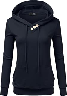 5247603a56 Doublju Womens Casual Lightweight Long Sleeve Pullover Hoodie with Plus  Sizes