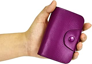 Credit Card Organizer Snap Wallet Small Money Cases Holder Genuine Leather Mini Purse for Men Women,Gift Box Package
