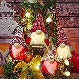LURLIN Gnome Christmas Ornaments with LED Light, 4 Pack Handmade Swedish Tomte Gnomes, Scandinavian Santa Elf Plush Table Ornaments, Christmas Tree Hanging Decoration Home Decor