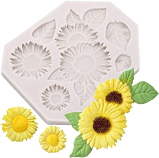 SOOKOO Flower Cake Fondant Mold, Sunflower Silicone Candy Making Tray, Flower Chocolate Sugarcraft Baking Tool DIY Cake Silicone Mold Cake Decoration