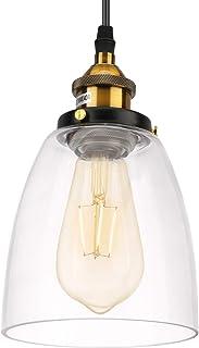 Lovebay Suspension Verre Vintage Luminaire, Abat-Jour en Verre Plafonnier Pendant Lampe, plafonnier vintage, E27 Eclairage...
