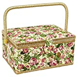 Sewing Basket with Rose Floral Print Design- Sewing Kit Storage Box with...