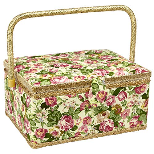 Sewing Basket with Rose Floral Print Design- Sewing Kit Storage Box with Removable Tray, Built-In Pin Cushion and Interior Pocket – Large – 12″ x 9″ x 6″ – by Adolfo Design