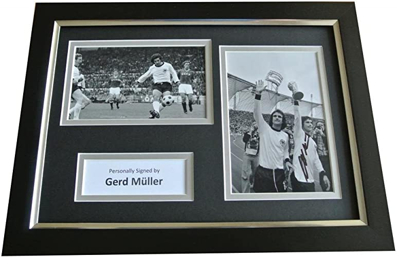 Sportagraphs Gerd Muller Signed A4 FRAMED Photo Autograph Display Gerhommey Football & COA