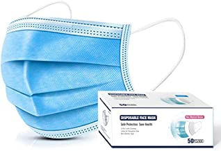 Face Mask, Disposable Face Masks Dust Particle 3-Layer Design Mask with Earloops Pack of 50 PCS (Blue)