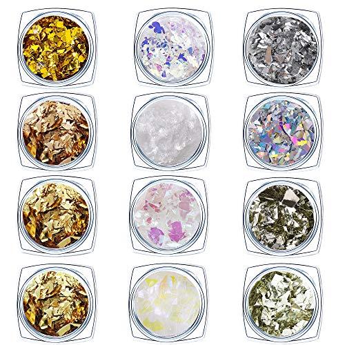 Nagel Pailletten Glitter Nail Art Pailletten Holographische Nagel Flitter Sequin Abziehbilder für Maniküre Gesicht Augen Haare 12 Farben