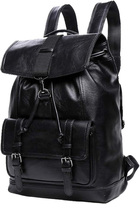 62201531f2e2 Multi-Functional Casual Black Backpack, Waterproof PU Leather 25L ...