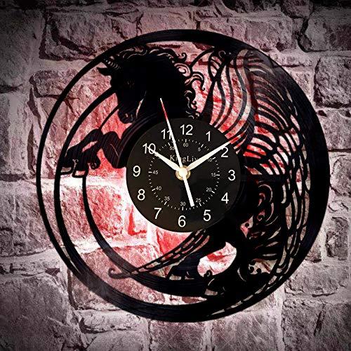 ROMK Reloj de decoración para el hogar Caballos Reloj de pared de vinilo Reloj de pared Animal Regalo de cumpleaños para hombres