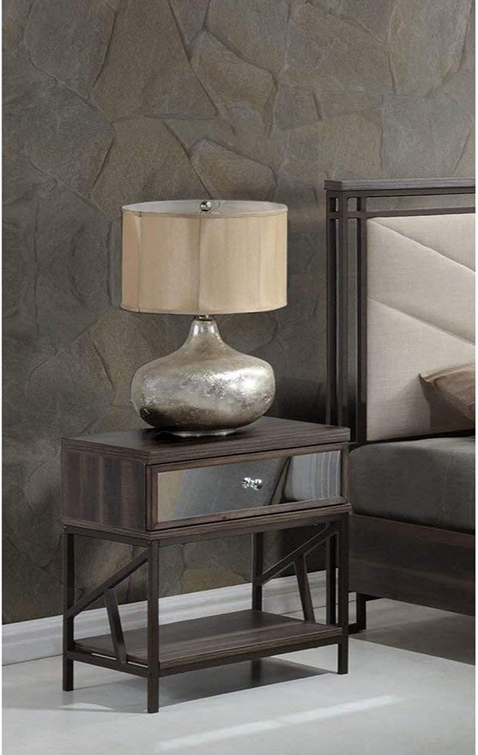 Benzara Wood and Metal Nightstand with Mirrored Front Drawer, Brown and Black