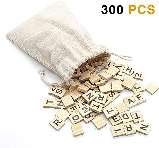 300PCS Scrabble Letters for Crafts,Wood Scrabble Tiles - DIY Wooden Letters Gift Decoration for Crafts, Pendants, Spelling (Canvas Bag Packaging)