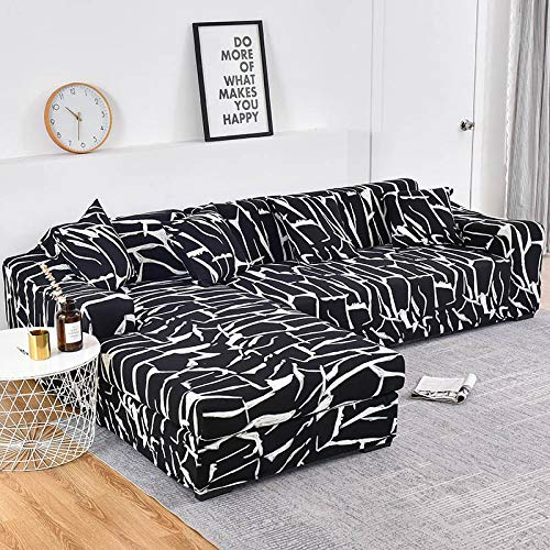 Fundas de sofá Chaise Longue Impresas en Forma de L para Sala de Estar Protector de sofá Fundas elásticas Antipolvo para sofá de Esquina A30 de 4 plazas