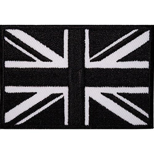 Bestickter Aufnäher zum Aufbügeln, Union Jack, Schwarz